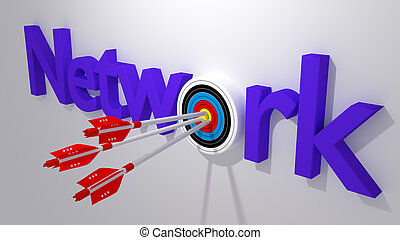 Network attack with bug arrows cybersecurity concept - Three...