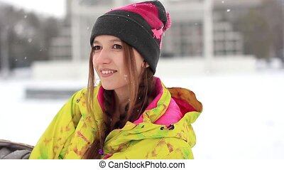 girl in winter looking at camera - Young woman hiker laugh...