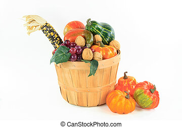 Symbols of Fall and Thanksgiving Day - horizontal...