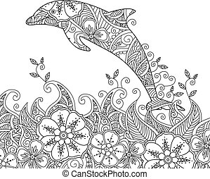 Coloring page with one jumping dolphin in the sea. Square...