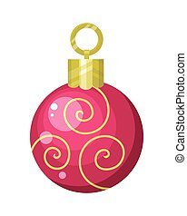 Christmas Tree Toy Flat Style Vector Illustration -...