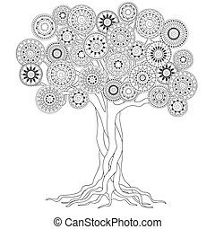 tree with roots of mandalas