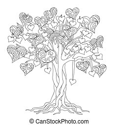 zen tree of love - hand drawn decorated tree of love in boho...