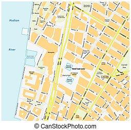 Map downtown Manhattan World Trade Center New York City -...