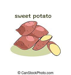 Sweet potatoes isolated on white background, illustration,...