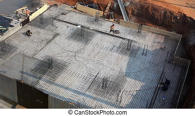 Top view on construction site