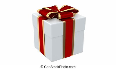 Gift box 3D animation - Gift box with red and silver ribbon...