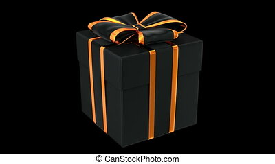 Halloween style gift box 3D animation with alpha matte