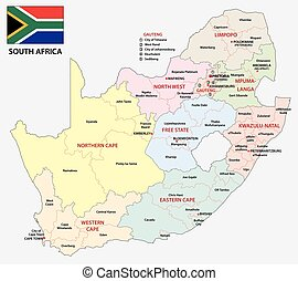 south africa administrative map with flag - south africa...