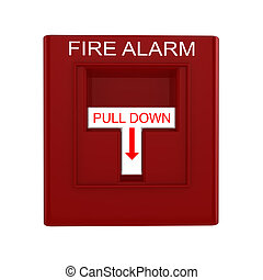 Red fire alarm switch with pull down lever isolated on white...