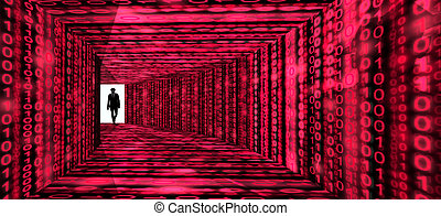 Elite hacker enters information corridor with digital red...