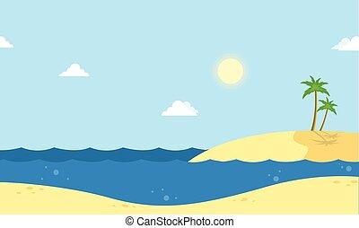 Seaside beautiful scenery cartoon vector