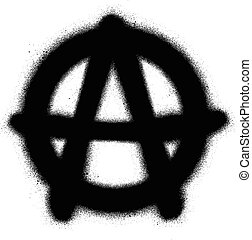graffiti anarchy icon sprayed in black on white
