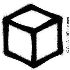 Cubo, Rociado, grafiti, negro, blanco, icono