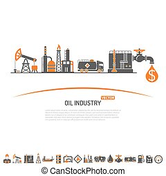 Oil industry Concept with Two Color Flat Icons extraction...