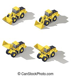Quarry front loader with a different position of the bucket...