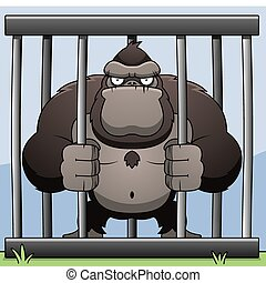 Gorilla Cage - An angry cartoon gorilla in a cage.