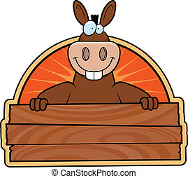 Donkey Sign - A happy cartoon donkey with a wooden sign