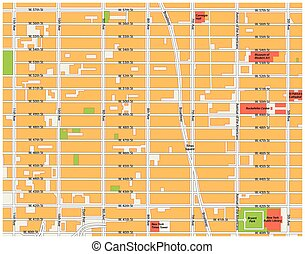 theater district, midtown manhattan map - theater district,...