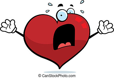Scared Heart - A cartoon heart with a scared expression