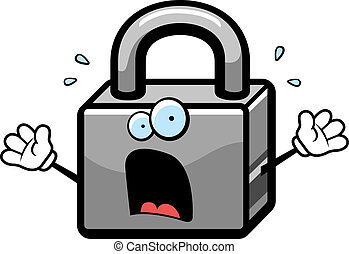 Scared Lock - A cartoon lock with a scared expression