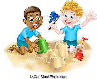 Cartoon Boys on the Beach