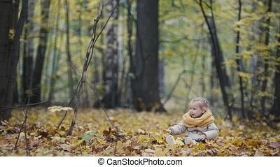 Little girl blonde hair seating in the park in yellow leaves and playing