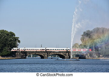 Fountain at Alster Lake in Hamburg, Germany