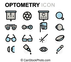 Vector flat line optometry icons set on white background