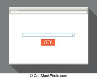 Opened browser vector template with search button. Vector...