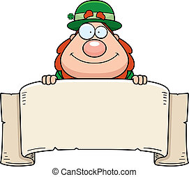 Leprechaun Banner - A cartoon leprechaun with a paper...