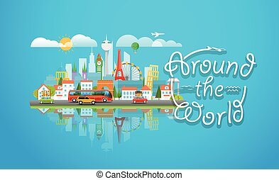 Dirrefent world famous sights. Around the world concept....