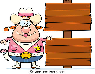 Cowgirl Sign - A happy cartoon cowgirl with a wooden sign