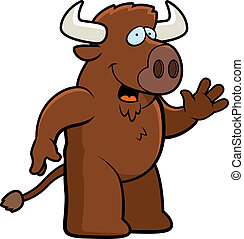 Buffallo Waving - A happy cartoon buffalo waving and...