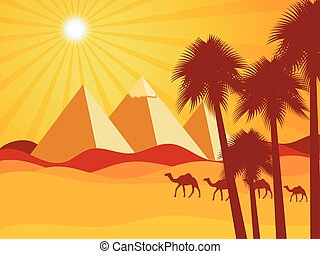Egyptian pyramids in the desert. Camels in the desert. Vector background. Illustration.