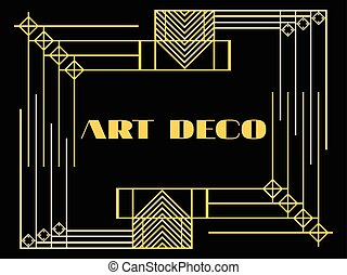 Art deco frame. Art deco geometric vintage frame. Retro...