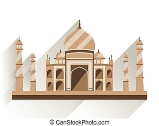 Taj Mahal flat style with long shadow. Ancient Palace in India isolated on white background. Vector illustration.