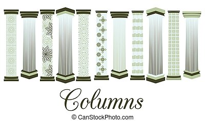 Columns with a pattern. set. Doric, Roman style. Vector...