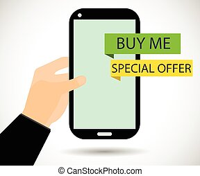 """Online shopping. The message """"Buy Me"""". Cyber Monday"""