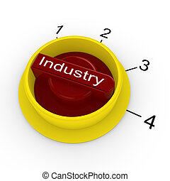 Rotary switch in red and yellow with the word Industry