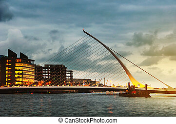 Samuel Becket Bridge at sunset in Dublin, Ireland. Beautiful...