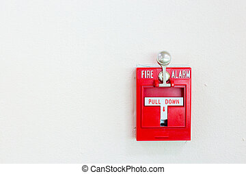 Red pull down fire alarm switch - Red fire alarm switch with...