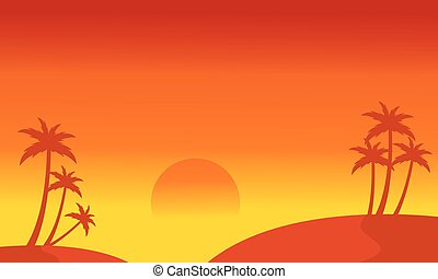Silhouette of hill and palm scenery vector illustration
