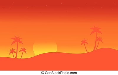 Silhouette of seaside with palm scenery vector illustration