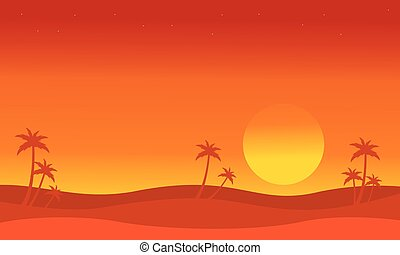 Silhouette of dessert with palm at sunset vector collection