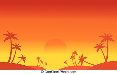 Silhouette of palm on the hill scenery vector illustration