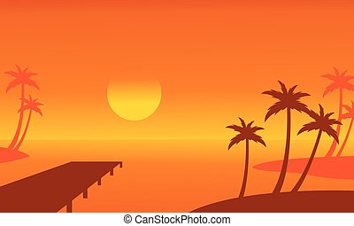 Seaside palm and pier scenery silhouettes vector...