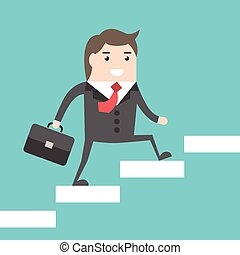 Businessman walking upstairs - Happy successful businessman...