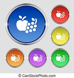 Fruits web icons sign. Round symbol on bright colourful buttons. Vector