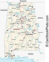 alabama road map - alabama road vector map